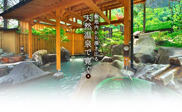 2種類の湧き出る天然温泉で寛ぐ