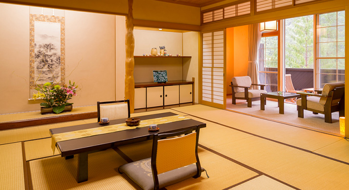 Japanese-style room with open air bath